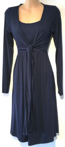JOJO MAMAN BEBE NAVY BLUE TIE FRONT MATERNITY & NURSING DRESS SIZE S 10